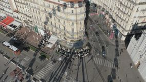 Observing Marseille street from the Ferris wheel, France stock footage