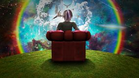 Observing the miracle. Surreal composition. Woman sits in red armchair and observing Angels in vivid sky. Human elements were created with 3D software and are vector illustration