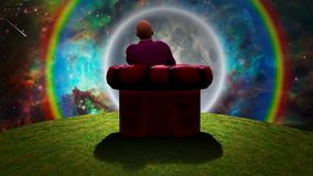 Observing the Moon. Surreal composition. Man sits in red armchair and observes moon and rainbow in vivid universe. Some elements image credit NASA. Human Royalty Free Stock Image