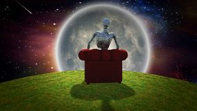 Observing the Moon. Surreal composition. Rusted alien sits in red armchair and observer bright moon. Some elements image credit NASA Stock Image