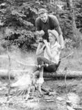 Observing nature concept. Couple ornithologists expedition in forest. Couple enjoy hike in forest observing nature. Ornithology interesting occupation. Woman royalty free stock photos