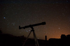 Observing night sky Stock Image