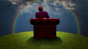 Observing the Rainbow. Surreal composition. Man sits in red armchair and observes rainbow in cloudy sky. Human elements were created with 3D software and are not Stock Image