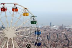 The observing wheel in Tibidabo Amusement Park, Barcelona Royalty Free Stock Photo