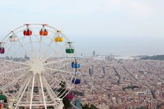 The observing wheel in Tibidabo Amusement Park, Barcelona Royalty Free Stock Photography