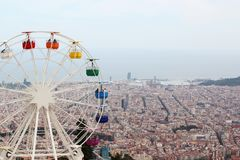 The observing wheel in Tibidabo Amusement Park, Barcelona Royalty Free Stock Images
