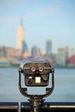 Obserwacja pokład z lornetkami, widok Nowy Jork miasto Zdjęcie Stock