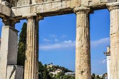 Obserwatorium Athens od rzymskiej agory Obraz Royalty Free