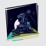 Obserwatorska kopuła i stacja na ziemi Astronomiczny Observat ilustracja wektor