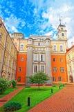 Obserwatorski podwórze i wierza przy Vilnius uniwersytetem fotografia stock