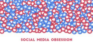 Obsessão social dos meios Ícones sociais dos meios no fundo abstrato da forma com polegares dispersados acima e corações imagem de stock royalty free