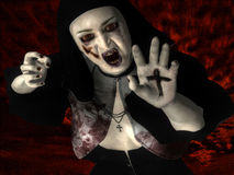 Obsessed. 3d rendering of a possessed nun with holy sign as illustrations vector illustration