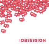 obsession Social Media-Ikonen im abstrakten Formhintergrund mit rosa Zähler Obsessionskonzept vektor abbildung