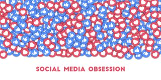 Obsession sociale de media Icônes sociales de media à l'arrière-plan abstrait de forme avec les pouces dispersés et les coeurs image libre de droits