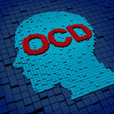 Obsessive Compulsive Disorder. Or OCD medical concept as a human head and letters made of organized three dimensional cubes as a symbol of the anxiety symptoms vector illustration