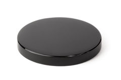 Obsidian mirror. Obsidian scrying mirror used in fortune telling, isolated on white Stock Photo