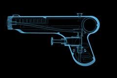 Obsikuje pistolet (3D xray błękitny przejrzysty) Fotografia Royalty Free