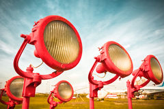 Obsolete airplane the lamps of a landing strip Stock Images