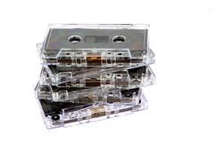 Obsolete Audio Tape Cassettes on White Background. Obsolete audio tape cassettes isolated against a white background Royalty Free Stock Photography