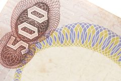 Obsolete bank note detail. Very close up of obsolete bank note detail Stock Images
