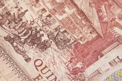 Obsolete bank note detail. Very close up of obsolete bank note detail Stock Photography