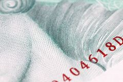 Obsolete bank note detail. Very close up of obsolete bank note detail Royalty Free Stock Images