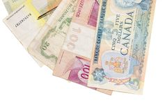 Obsolete bank notes. Isolated on a white background Stock Image