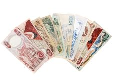 Obsolete bank notes. Isolated on a white background Stock Photos