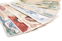 Obsolete bank notes. Isolated on a white background Royalty Free Stock Photography