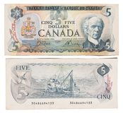 Obsolete bank notes. Obsolete Canadian bank notes isolated on a white background Stock Images