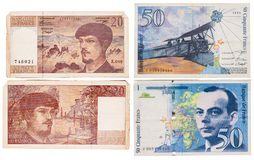 Obsolete bank notes. Obsolete French bank notes isolated on a white background Royalty Free Stock Image