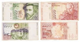 Obsolete bank notes. Obsolete Spanish bank notes isolated on a white background Royalty Free Stock Photos