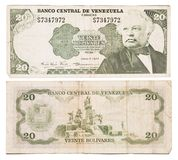 Obsolete bank notes. Obsolete Venezuelean bank notes isolated on a white background Stock Image