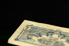 An obsolete banknote in five Czechoslovak krones on a dark background Royalty Free Stock Images