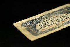 An obsolete banknote in five Czechoslovak krones on a dark background Royalty Free Stock Image