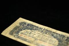 An obsolete banknote in five Czechoslovak krones on a dark background Stock Photography