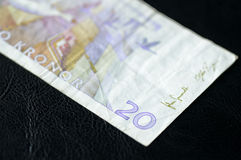 Obsolete Banknote in twenty Swedish kronor. On a dark background Royalty Free Stock Photography