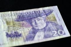 Obsolete Banknote in twenty Swedish kronor. On a dark background Stock Photography