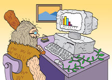 Obsolete Computer. A cartoon of a man depicted as a caveman in the office trying to use an outdated computer Royalty Free Stock Image