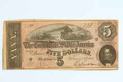 Obsolete Currency 5. Confederate States of America obsolete five dollar bill Royalty Free Stock Photos