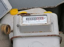 Obsolete disused gas counters in a landfill of toxic waste speci Royalty Free Stock Photos