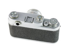 Obsolete film camera, back side. Obsolete film camera isolated on white background, back side Royalty Free Stock Photos