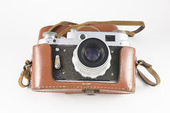 Obsolete film camera in a brown case Stock Image