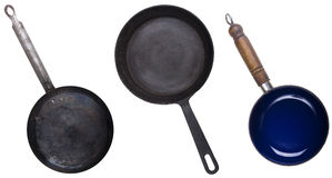 Obsolete frying pans and skillet Royalty Free Stock Images