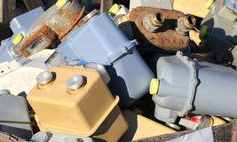 Obsolete gas meters in a landfill Stock Photography