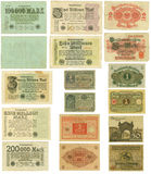 Obsolete German banknotes cut out Royalty Free Stock Photo