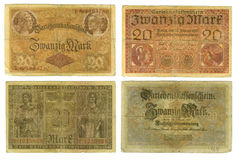 Obsolete German banknotes cut out. Obsolete German Deutschemarks are isolated on white Stock Photography