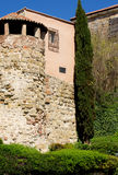 Obsolete House in Salamanca. Obsolete House with Tower, Gallery and Surrounded Wall with Plants Outdoors. Salamanca, Spain Stock Images