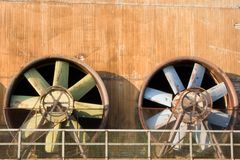 Obsolete Industrial Turbines. Two turbines in an obsolete industrial plant Royalty Free Stock Photos