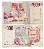 Obsolete bank notes. Obsolete Italian bank notes isolated on a white background Royalty Free Stock Photos